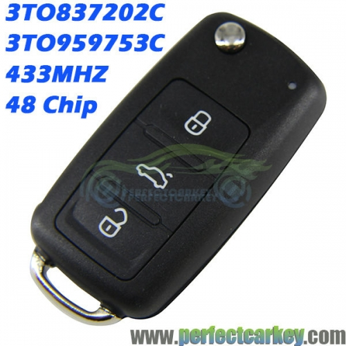 3TO837202C 3TO959753C auto flip key keyless entry GENUINE 433mhz 48chip 3button car key control for SKODA OCTAVIA FABIA SUPURB