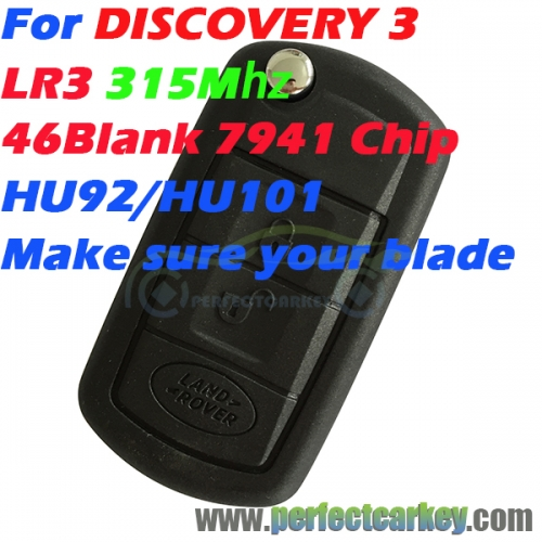 315Mhz HU92 HU101 Groove 46Blank 7941Electric chip 3button car key control auto flip key for LR3 DISCOVERY 3