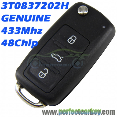 3T0 837 202H 3T0837202H GENUINE 433mhz 48chip 3button car control auto flip remote key for Skoda Fabia Felicia Octavia Superb