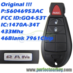 56046953AC 1470A-34T GQ4-53T Original 433Mhz 46Blank 7961chip 3button car smart card auto fobik key for Dodge Ram smart key