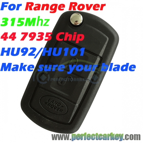 315Mhz 44 7935Chip HU92 HU101 Groove 3button car key control auto flip key for Range Rover