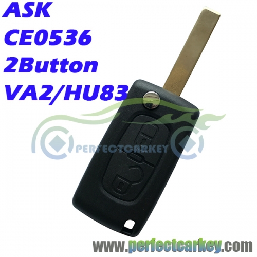 2Button ASK CE0536 433Mhz ID46 7961 Chip auto flip remote key for Citroen