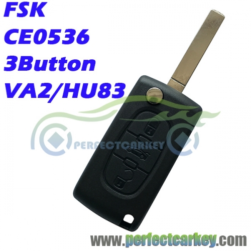 Citroen 3button FSK CE0536 type 433Mhz 7961 Chip auto flip remote key